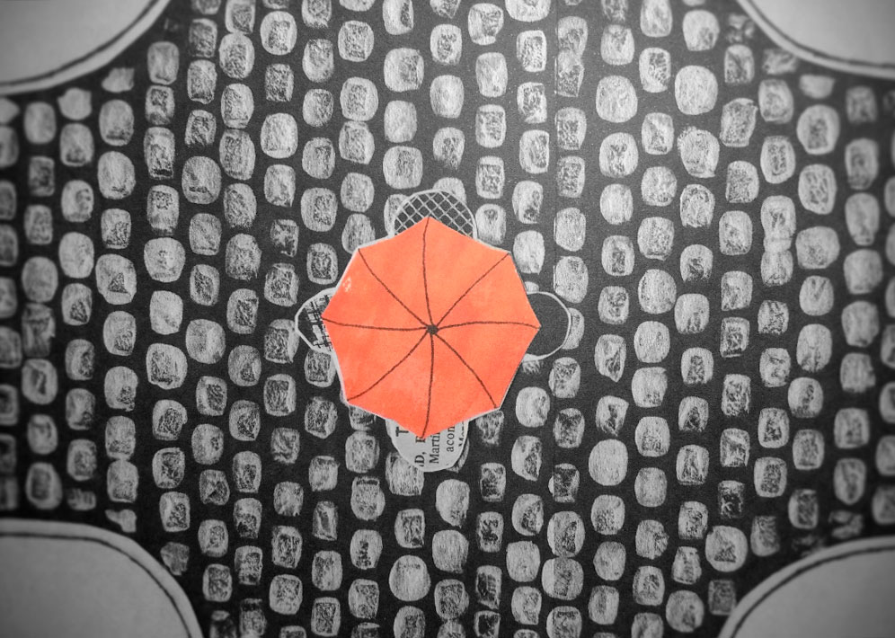 """Ilustración del cuento """"Tres portugueses bajo un paraguas (sin contar el muerto)"""", de Inés Calveiro"""
