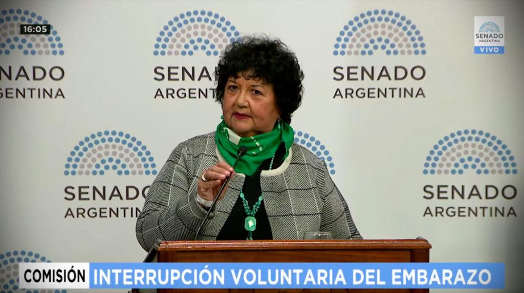 Dora Barrancos exponiendo en el Senado sobre la Interrupción Voluntaria del embarazo